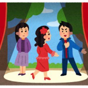 舞台でスポットライトを浴びて演じる役者たち
